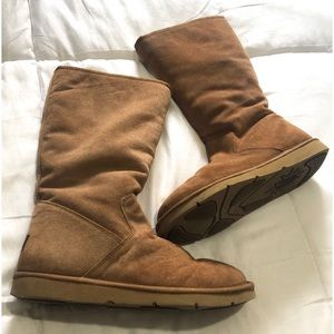 UGG Sunset Suede Brown/Tan Size 9 Tall Zip Boots